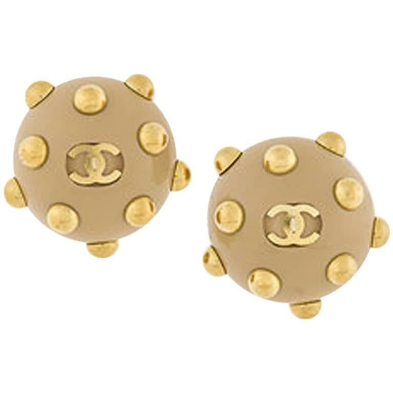 2000s Chanel Camel Embellished Clip On Earrings For Sale