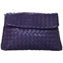 Bottega Veneta Purple Intrecciato Leather Clutch/Pouch Bag