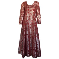 Gold and burnt red metallic long sleeve maxi dress
