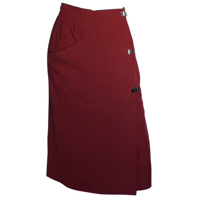 Courreges burnt orange wool skirt with metal clip closures