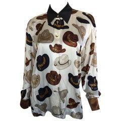 Silk print cowboy hat blouse