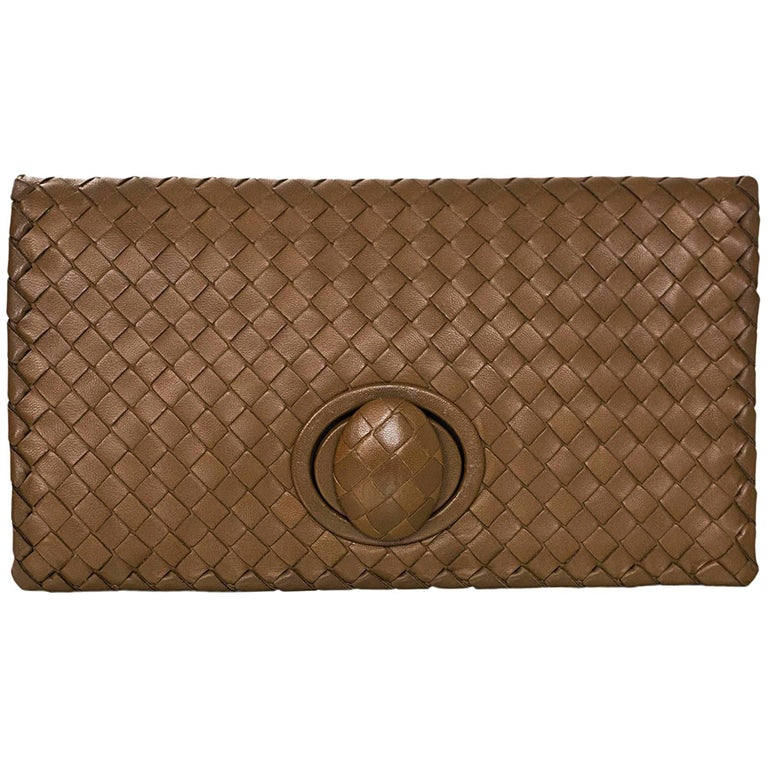 Bottega Veneta Tan Intrecciato Leather Turnlock Clutch Bag