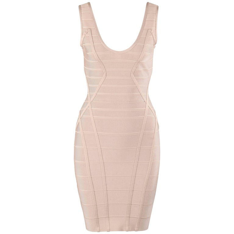 HERVE LEGER Beige V Neck Sleeveless Bandage Knit Bodycon Dress NWT