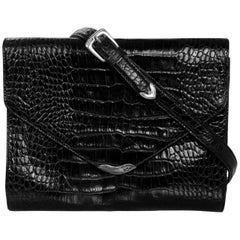 Ralph Lauren Black Embossed Crocodile Crossbody Bag