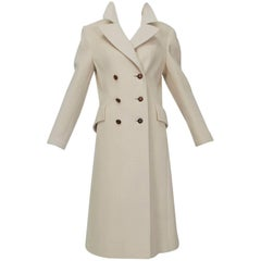 Ivory Cashmere Princess-Cut Military Trench Coat – I Magnin, 1970s
