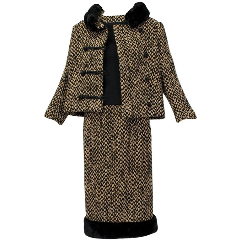 Sheared Mink Trim A-Line Suit with Stand-Away Collar, 1960s For Sale