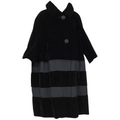 Black Velvet and Faille Stripe Raglan Oversized Opera Coat, 1960s