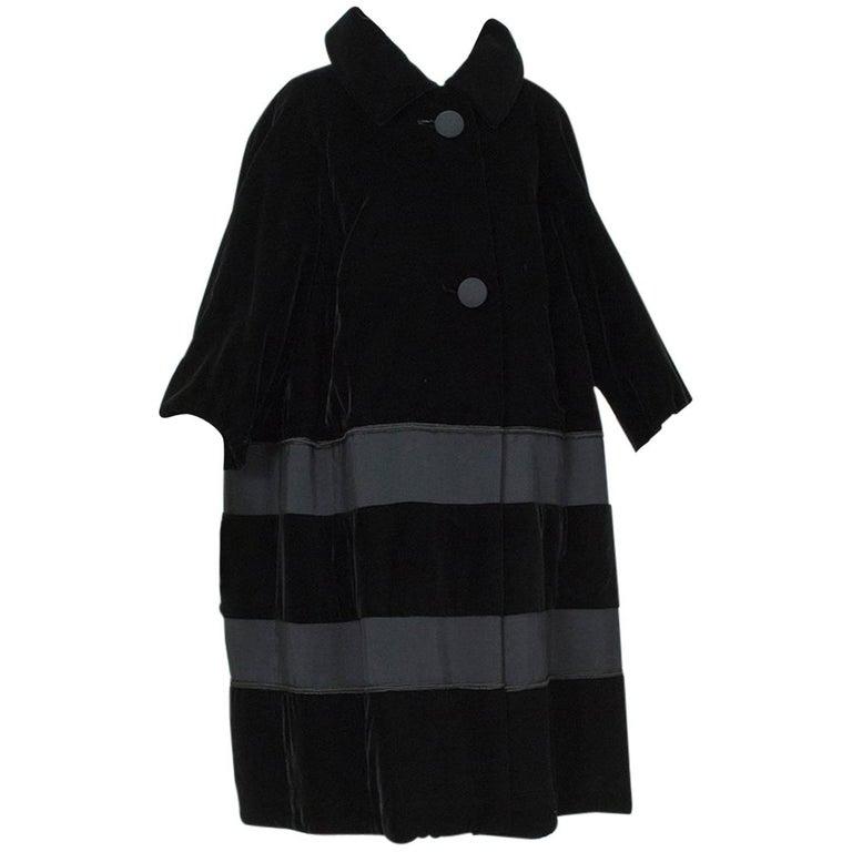 Black Velvet and Faille Stripe Raglan Oversized Opera Coat, 1960s For Sale