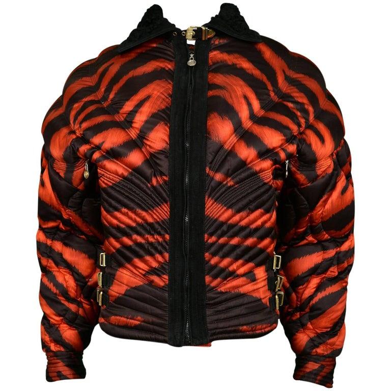 Gianni Versace Apres Ski Red Tiger Print Bondage Puffer Jacket 1992
