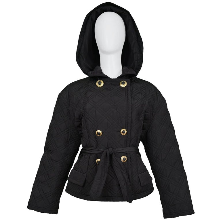 Gianni Versace Vintage Black Quilted Hooded Jacket with Gold Buttons For Sale
