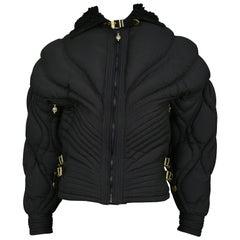 Vintage Gianni Versace Black Apres Ski Quilted Puffer Bondage Jacket 1992 Runway