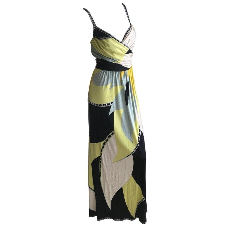 Emilio Pucci Low Cut Silk Maxi Dress NWT Size 36