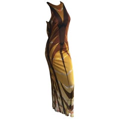 Emilio Pucci Patterned Backless Maxi Halter Dress