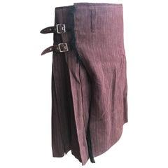Jean Paul Gaultier Homme Men in Skirts Pleated Brown Kilt Double Buckle Size 34
