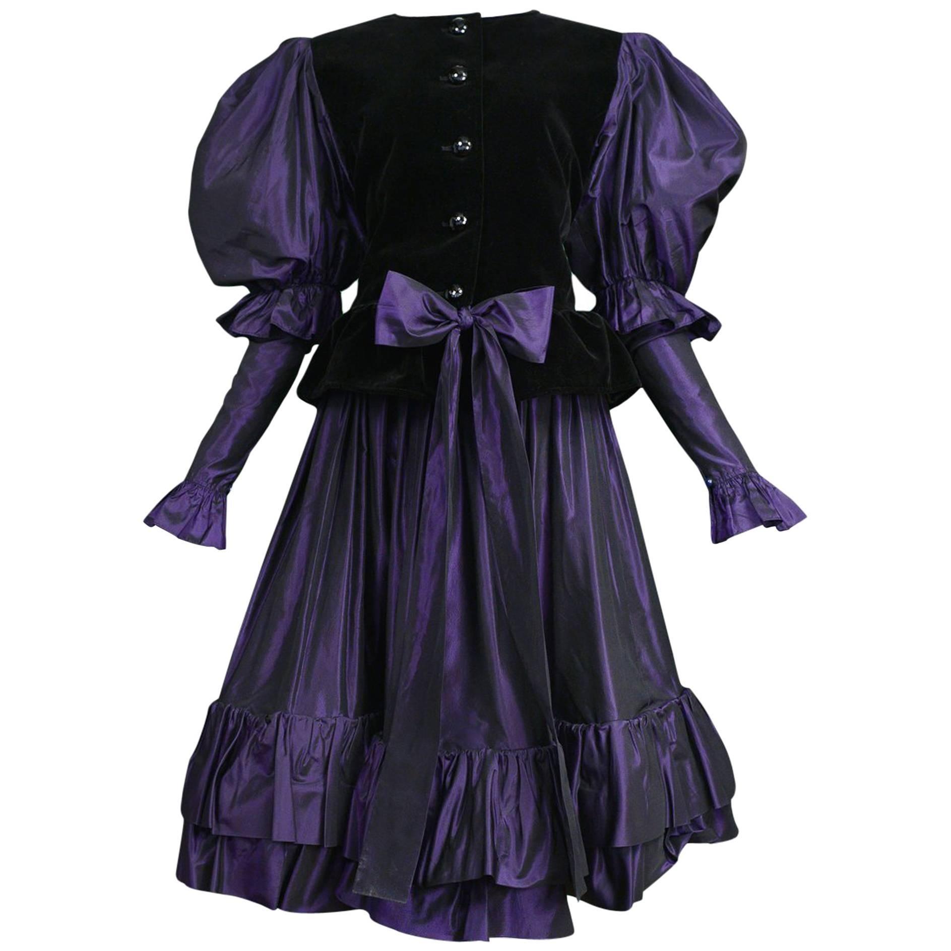 Yves Saint Laurent Velvet & Royal Purple Taffeta Ruffle Skirt Ensemble 1982