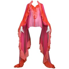 Yves Saint Laurent Hot Pink & Red Chiffon Peasant Blouse & Giant Ruffle Scarf