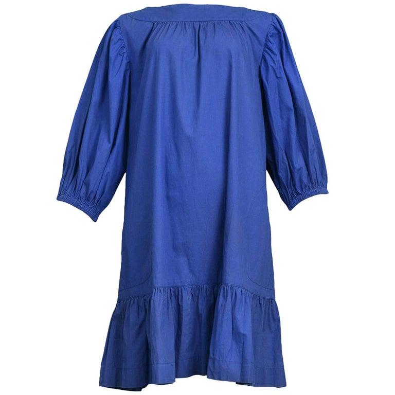 Vintage Yves Saint Laurent Blue Cotton Smock Dress with Ruffle Hem