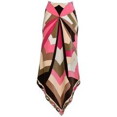 Vintage Emilio Pucci Pink Velvet Handkerchief Skirt 1970's