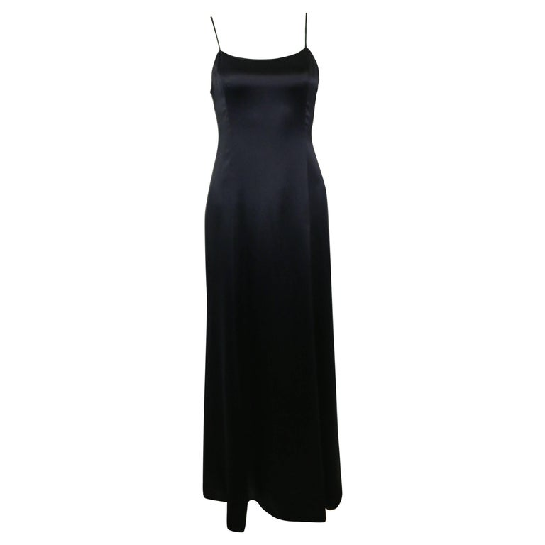 Chanel Black Spaghetti Strap Backless Silk Maxi Dress For Sale At