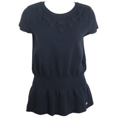 Chanel Black Wool Short Sleeves Top