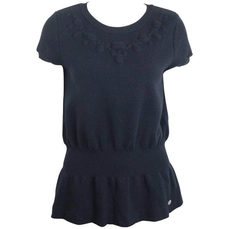Chanel Black Wool Short Sleeves Top