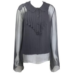 Chanel Black Silk See Through Long Sleeves Blouse