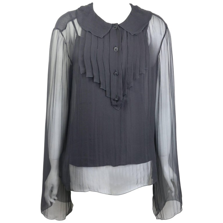 Chanel Black Silk See Through Long Sleeves Blouse  For Sale