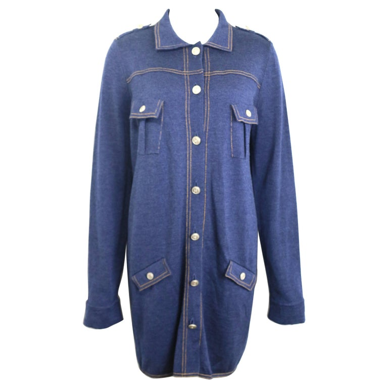 Chanel Blue Wool Denim Like Tunic/Dress  For Sale
