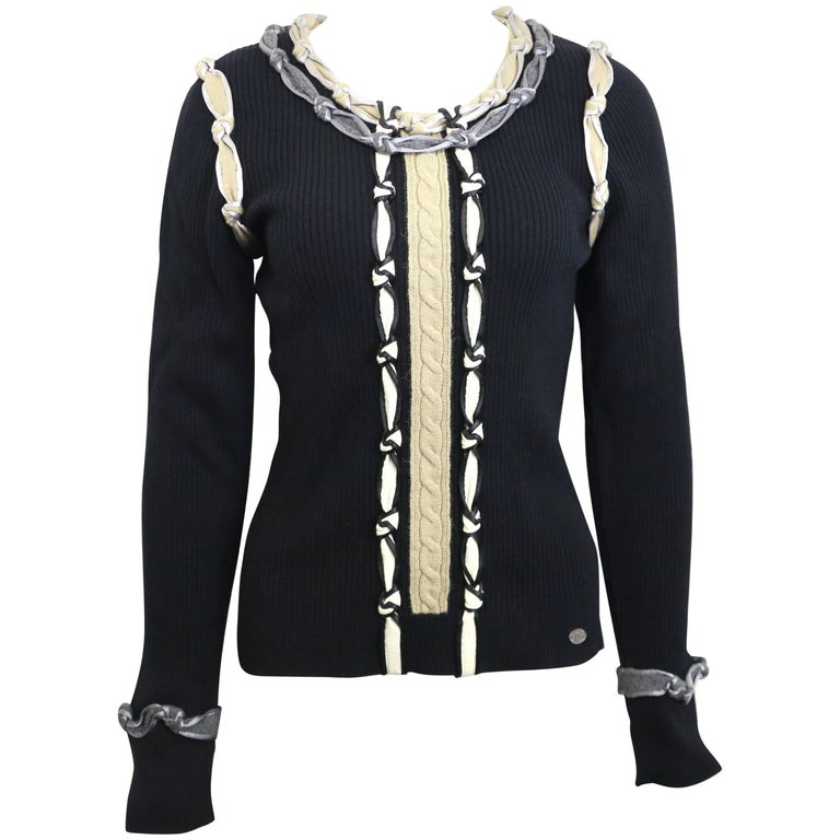 Chanel Black Wool Knitted Sweater with Multi Colours Knots Detail