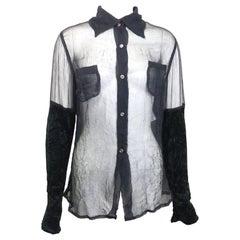 Vintage 90s Costume National Black Silk See Through with Velvet Sleeves Shirt