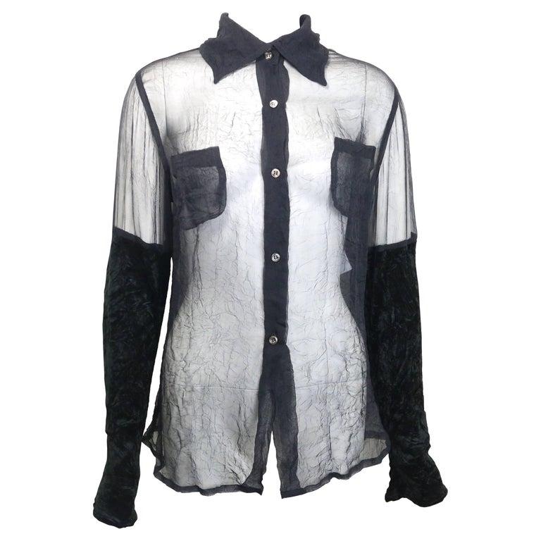 Costume National Black Silk See Through with Velvet Sleeves Shirt