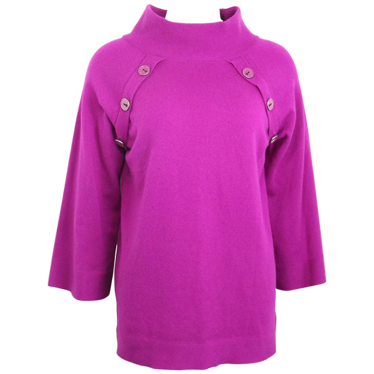 Chanel Pink Cashmere 3/4 Sleeves Length Mock Neck Sweater