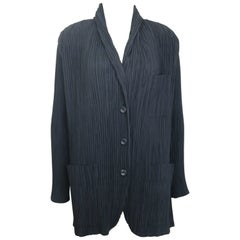 Issey Miyake Black Pleated Shawl Neck Jacket