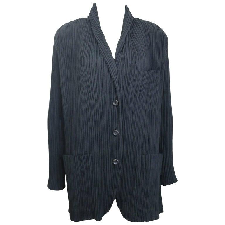 Issey Miyake Black Pleated Shawl Neck Jacket