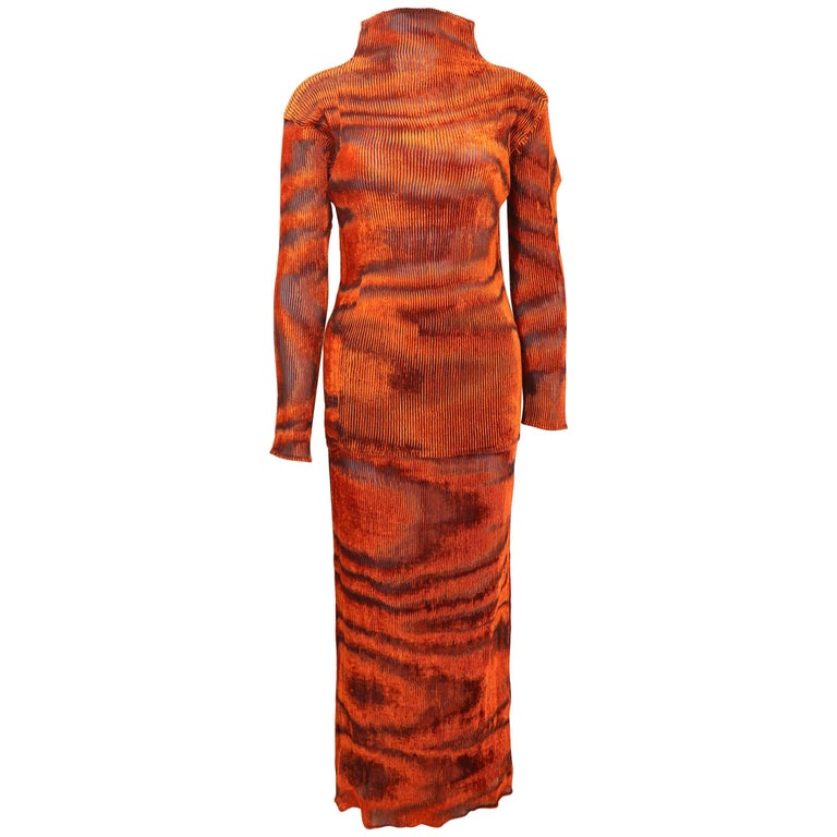 Issey Miyake Orange Velvet Plasma Wave Pattern Top and Skirt Ensemble  For Sale