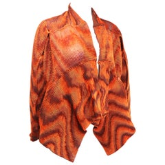 Issey Miyake Orange Velvet Plasma Wave Pleated Bolero Jacket