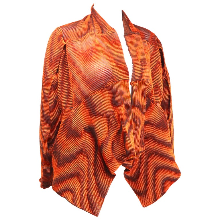 Issey Miyake Orange Velvet Plasma Wave Pleated Bolero Jacket For Sale