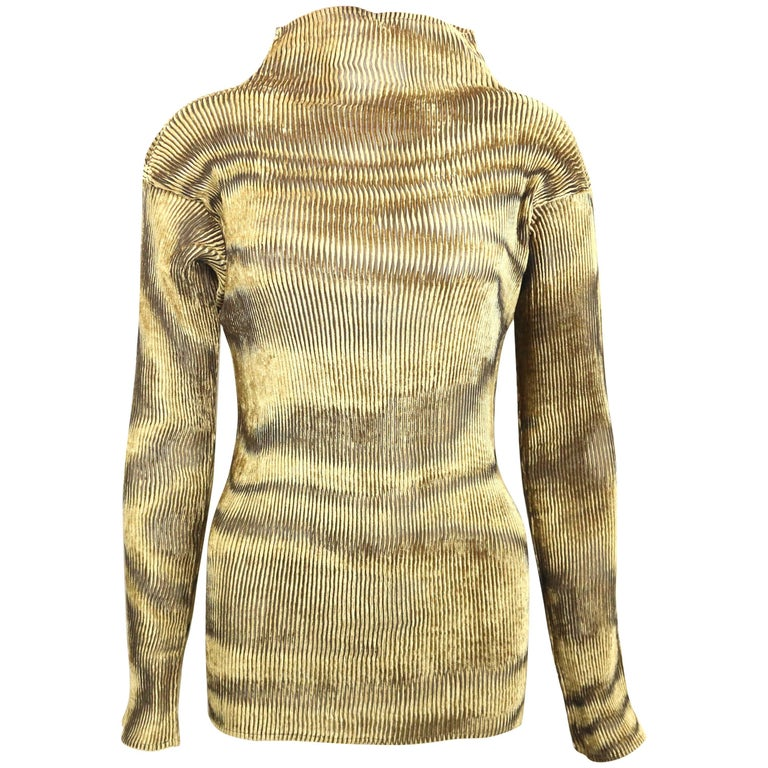Issey Miyake Gold Velvet Plasma Wave Pattern Long Sleeved High Neck Top