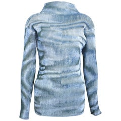 Issey Miyake Blue Velvet Plasma Wave Pattern Long Sleeved High Neck Top