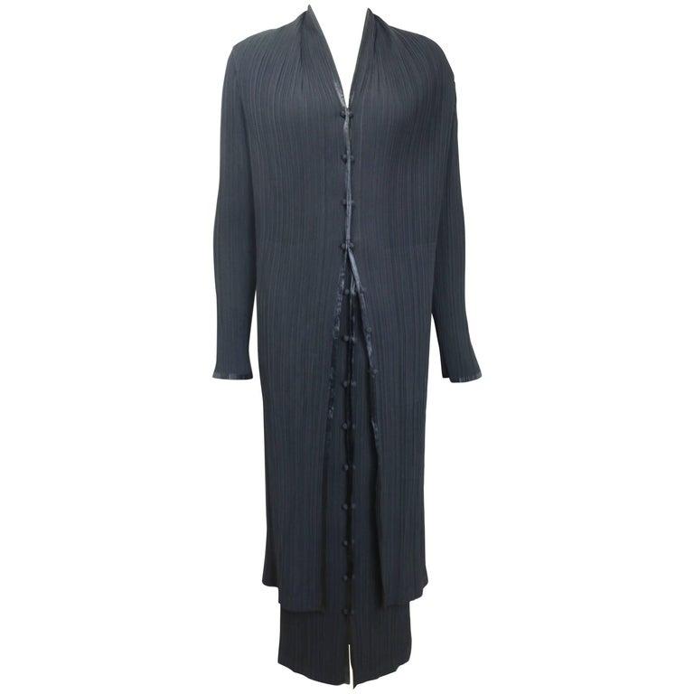 Issey Miyake Black Pleated Long Coat and Skirt Ensemble