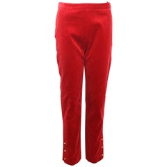 Vintage 90s Chanel Red Velvet Pants