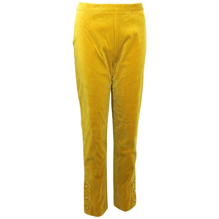 Chanel Yellow Velvet Pants For Sale At 1stdibs