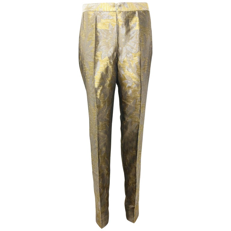 Dries Van Noten Oliver and Silver Floral Embroidered Silk Pants For Sale