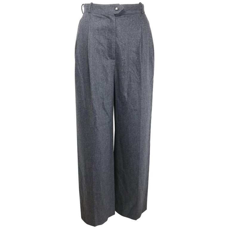 Chanel Grey Wool Pants