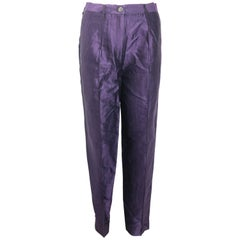 Dries Van Noten Purple Silk Carrot Pants