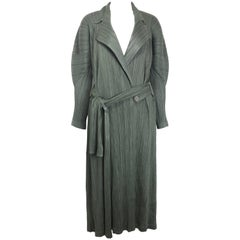 Issey Miyake Pleats Please Green Pleated Long Belted Coat