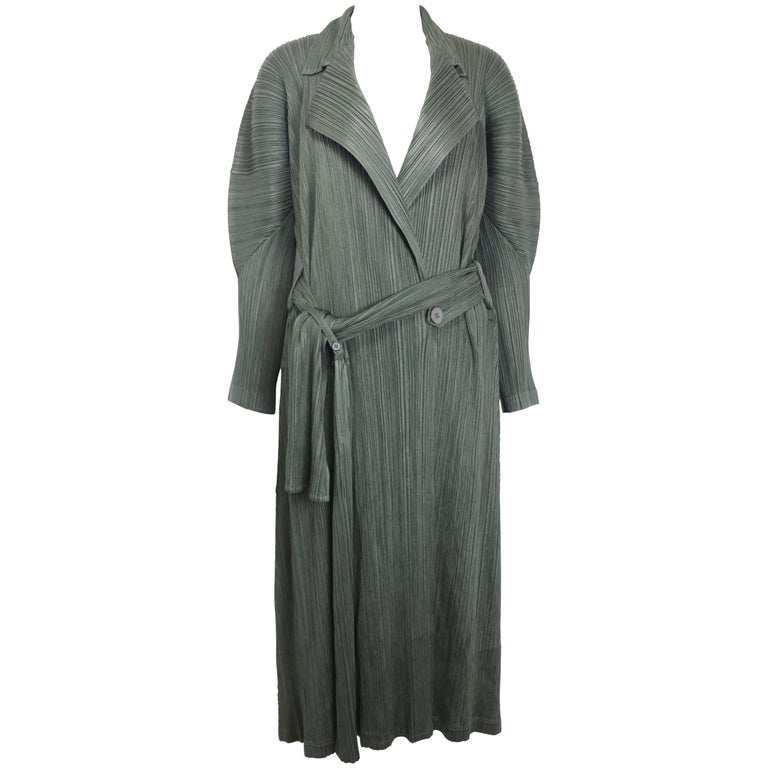 Issey Miyake Pleats Please Green Pleated Long Belted Coat   For Sale