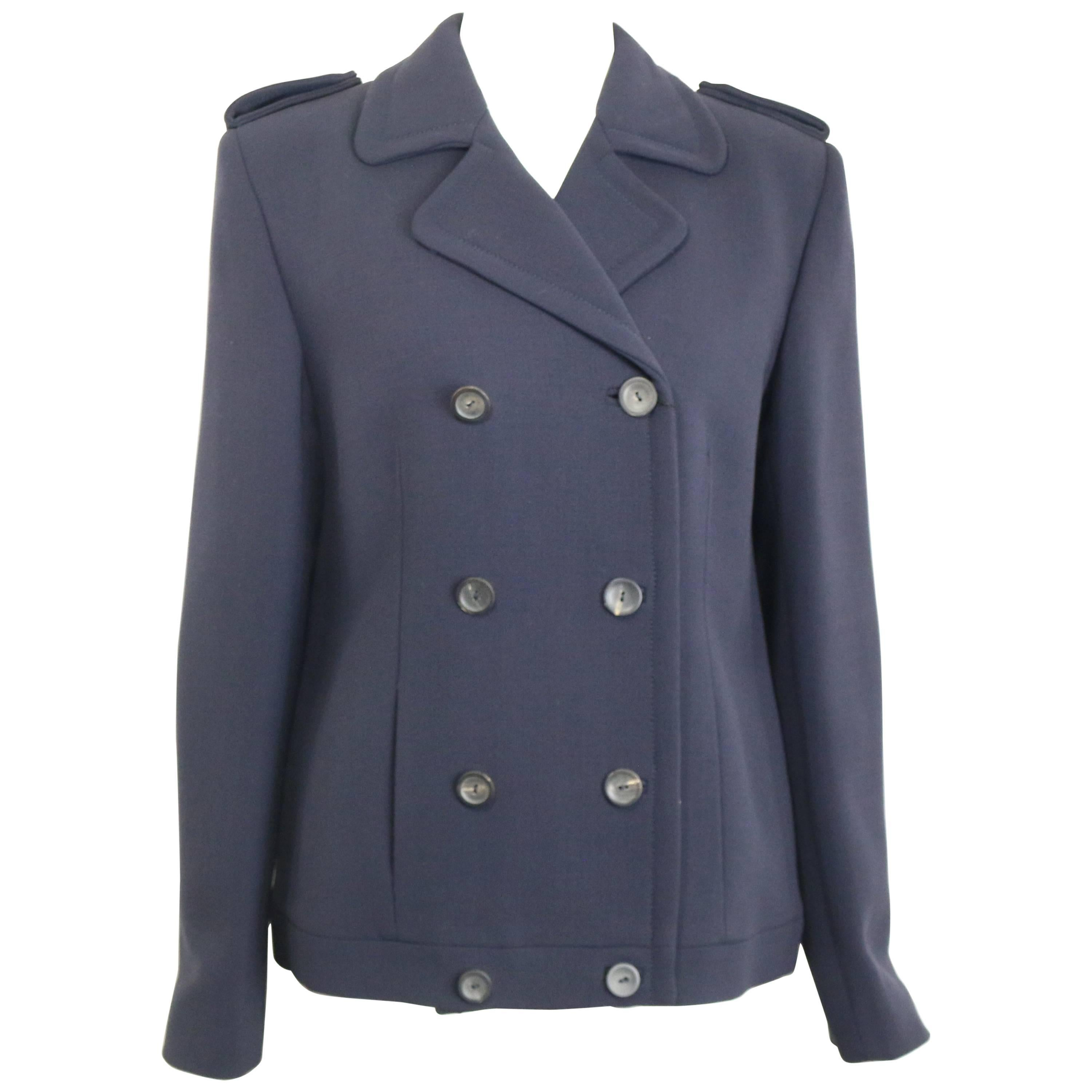 Fall 1996 Gucci by Tom Ford Navy Wool Double Breasted Jacket