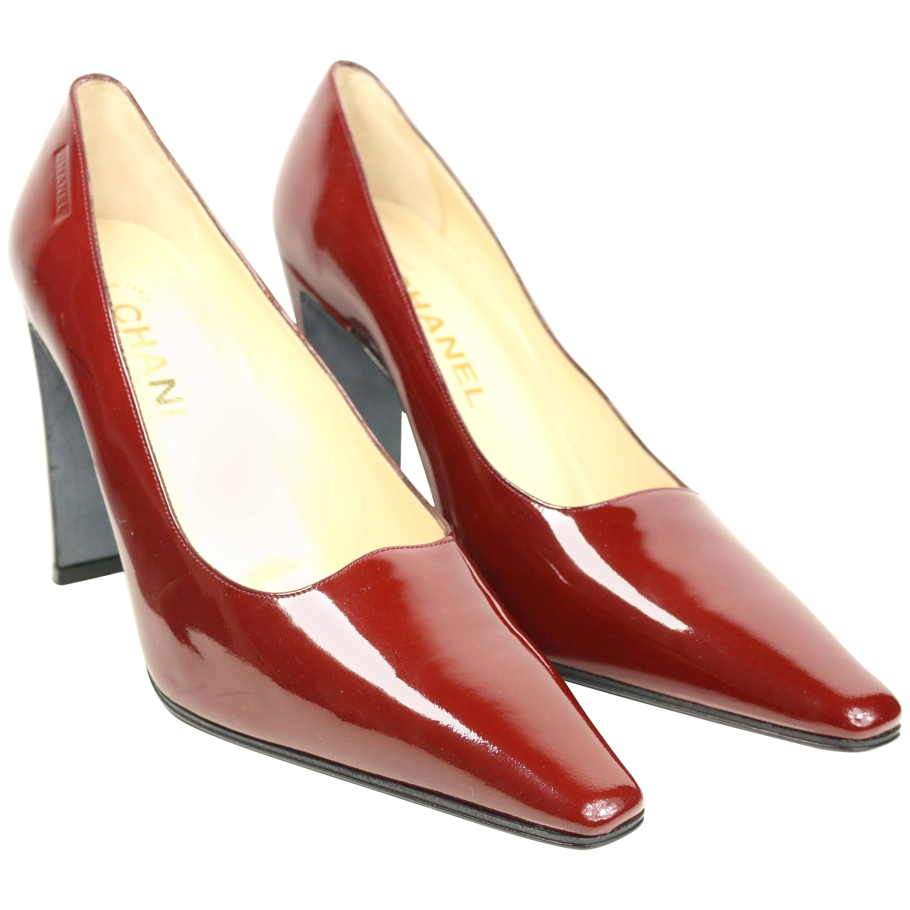 1378d804887 Chanel Burgundy Patent Leather Heels Pumps. For Sale at 1stdibs