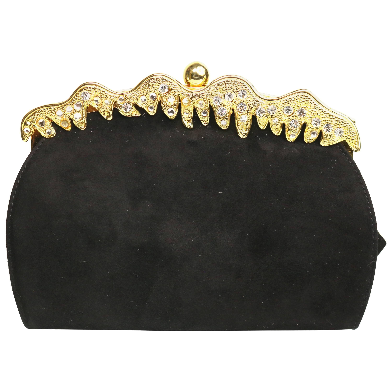 Rodo Black Suede Gold Toned Rhinestones Evening Clutch Shoulder Bag